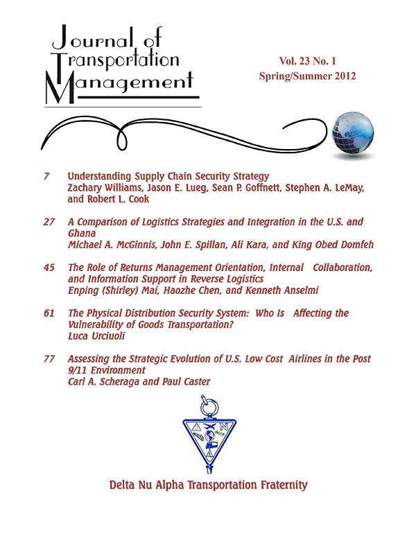 Journal of Transportation Management   Vol 23   Iss 1